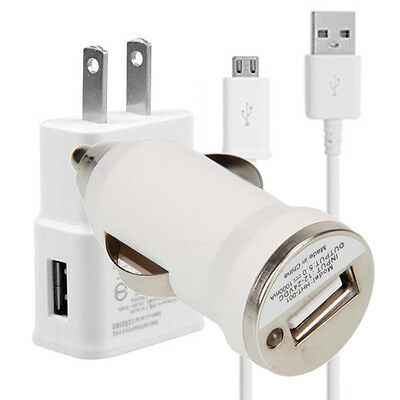 Micro USB Car Wall Power Adapter Charger Cable for Samsung Galaxy S 3 S4 Note 2