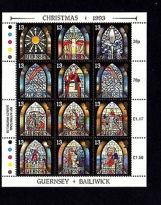 Guernsey - 1993 - Christmas - Stained Glass Windows - Chapel - Mint Sheet!