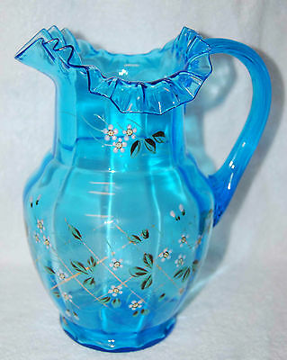 VICTORIAN HAND PAINTED LARGE TURQUOISE FANCY GLASS PITCHER