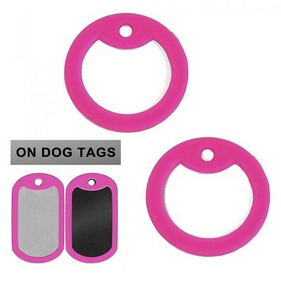 Pair of Pink Dog Tag Silencers - Military GI Silencer - NEW - Set of 2 - Dogtag
