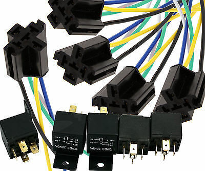 5 x 12V 40A Car Truck Van Motorbike Cycle Boat 5 Pin Relay with Socket Holder