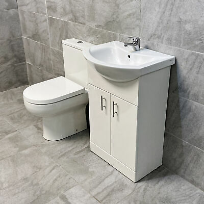 650mm Cloakroom Suite Bathroom Vanity Basin Unit & Toilet Set with Tap Option