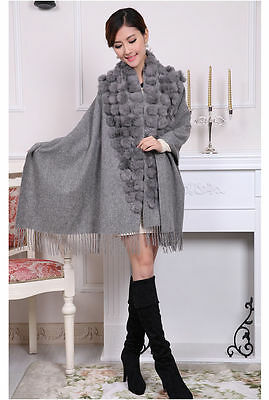 Fashion Brand Scarves Lady's 100% Wool Rabbit Ball Top Shawl Warm Scarf
