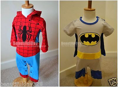 Baby Boy Spiderman/ Baby Batman Playsuit Outfit Costume with Cape 6-24 months