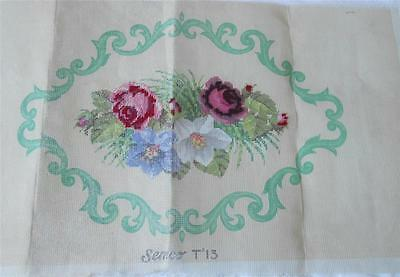 Vintage Semco Printed Tapestry Canvas Stool Seat Cushion Floral Small Amt Worked