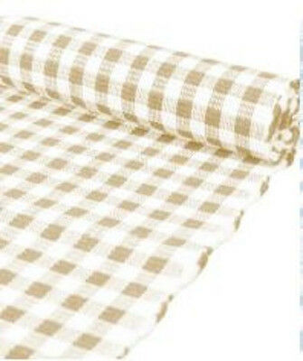 Taupe & White Gingham Check 100% Cotton Rib Table Runner  - 33 x 135cm