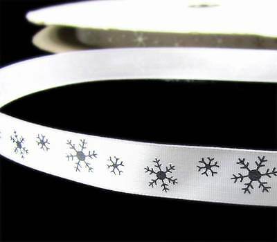 "5 Yards Christmas Silver Snowflakes White Acetate Soft Satin Ribbon 7//8/""W"