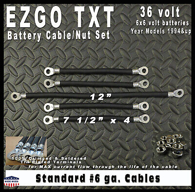 EZGO TXT 36 Volt 6 Gauge Battery Cable & Nut Set