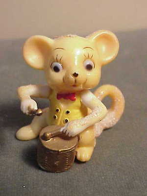 Adorable Vintage Plastic Fuzzy Musical Mouse Figurine - Playing The Drums