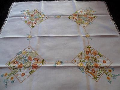 Classic Jacobean Vintage Hand Embroidered Tablecloth -Tangerine/gold/green tones