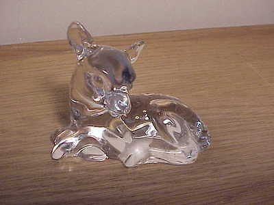 Adorable Vintage Baby Deer Fawn German Crystal Figurine - Laying Down, Spotted