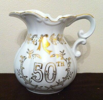 "Beautiful Lefton China Hand Painted ""50th Anniversary"" Miniature Pitcher"