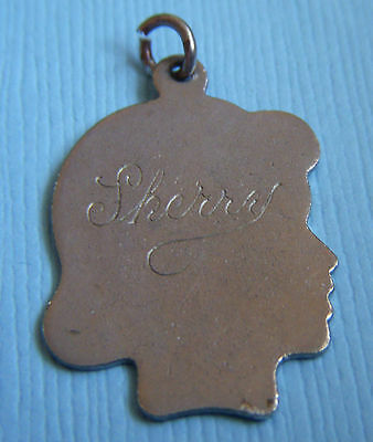"""Vintage """"Sherry"""" girl's silhouette profile sterling charm"""