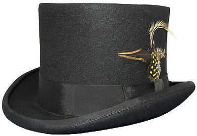 """Mens Black 100% Wool 5 1/2"""" Wedding Event Top Hat With Removable Feather"""