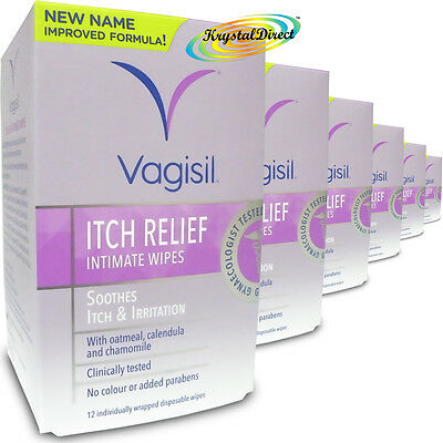 6x Vagisil Itch Relief Intimate Wipes 12 Soothes Itch and Irritation