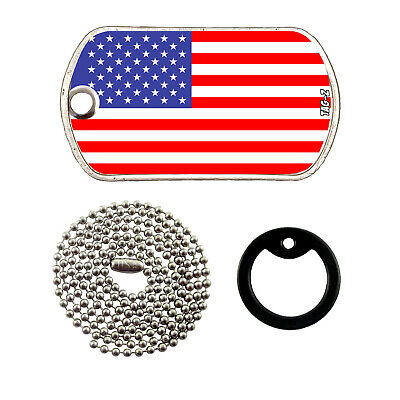 Military Dog Tag Necklace -  AMERICAN FLAG with a Dog Tag Silencer
