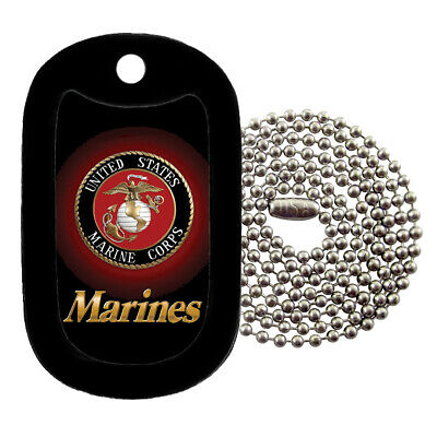 Military Dog Tag Necklace -  U.S. Marines with a Dog Tag Silencer