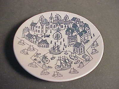 "Vintage Nymolle Art Pottery Danish 5"" Plate Hoyrup Viking Ship & Village Scene"