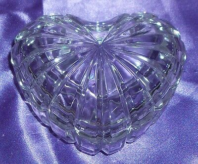 Vintage ~ Glass Heart Shaped Trinket Candy Dish ~ Estate Collectable