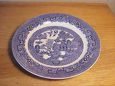 "VINTAGE 7 1/2"" SALAD PLATE  - ENGLISH BLUE WILLOW PORCELAIN - WOODS & SONS"