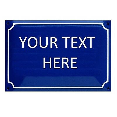 YOUR TEXT French vintage plaque enamel number door sign house street Paris Small