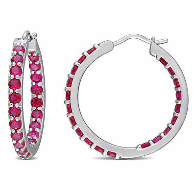 Sterling Silver 4 Ct TGW Created Ruby Hoop Earrings