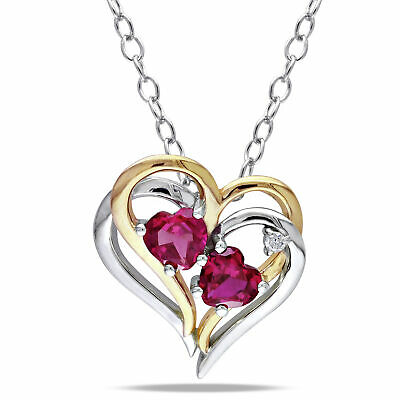 Sterling Silver Ruby and Diamond Two-Tone Double Heart Love Pendant Necklace