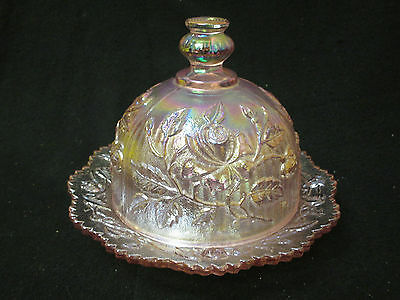 Imperial Rose Covered Glass Butter/cheese Dish & Dome Cover-Pink Iridescent **