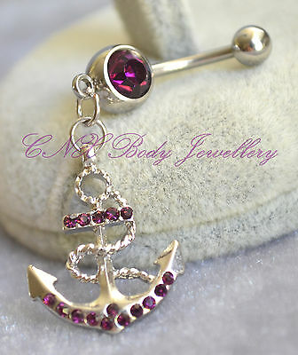 Unique 316L Surgical Steel Dangle Amethyst Purple Anchor Navel Bar Belly Ring