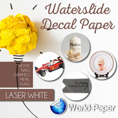 """Laser Waterslide Decal Paper WHITE for Dark Colored Surfaces 8.5""""x11""""  5 Sheets"""