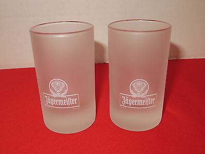 Jagermeifter Frosted Shot Glasses Pair ( 2)  Shot Glass Barware Holds 3 oz.