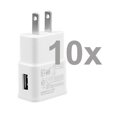 10X Wholesale AC Wall Travel Home Chargers For Samsung Galaxy S3 S4 S5 Note 2 3