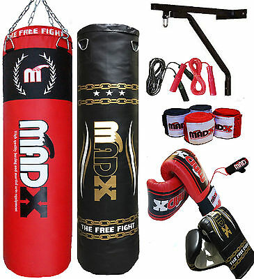MADX 5ft Filled Heavy Punch Bag Custom Set,Chains,Bracket,Gloves,MMA,Gold,Red