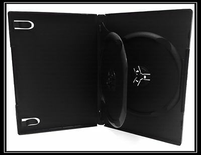 NEW! 25 Double Disc DVD Cases with Tray 14mm Black - Holds 2 discs - Two