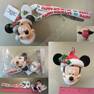 "New Disney Parks White Mickey Mouse Christmas LED Light Up 30"" Necklace Lanyard"