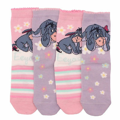 4 x Kid Girl Toddler Children Cartoon Character Disney Winnie Pooh Eyore Socks