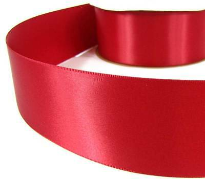"5 Yds Scarlet Red Double Faced Satin Ribbon 2 1/4""W"