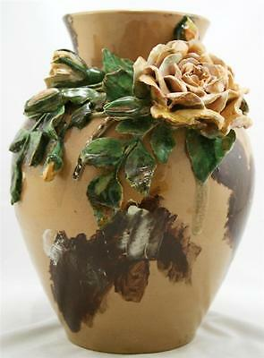 "Rookwood Early Barbotine Style 11.5"" Vase 1882 W/large Rose Blossom/buds/leaves"