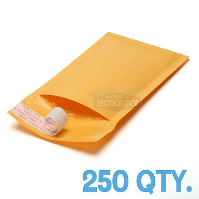 250 #000 Kraft Bubble Padded Envelopes Mailers 4 x 8 from TheBoxery