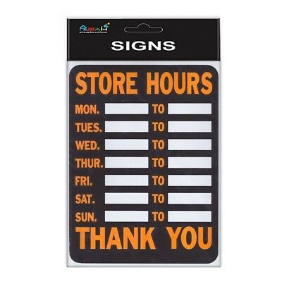 30cm Store Hours for Retail/Business Shop Plastic Sign Orange, Black and White