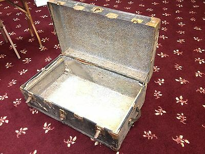 Antique Vintage Collectible Black Metal Lined Wood Trunk Chest