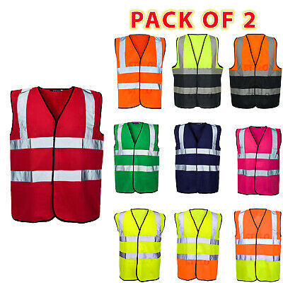 Hi Viz Vis Visibility Security Work Contractor Safety Vest Waistcoat Jacket Size