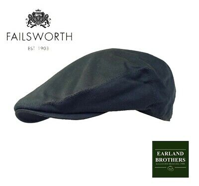 Failsworth Wax Cap Flat Cap Showerproof Golf Cap Country Cap Preformed Peak Navy