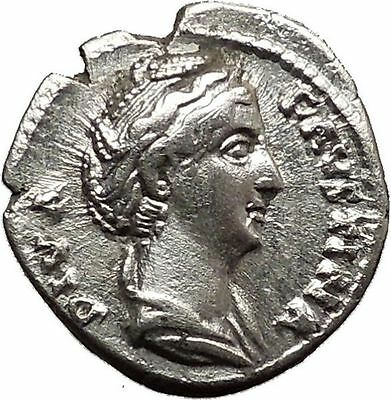 Faustina I Silver Ancient Roman Coin Deification Juno Cult  Torch Hope i36560