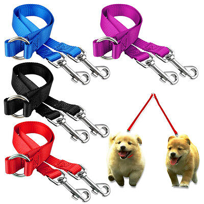 2 Way Nylon Dual Double Coupler Dog Leash Lead Multiple for Twin Dogs 4 Colors