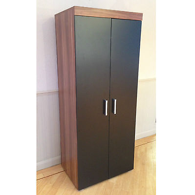2 Door Double Wardrobe in Black & Walnut Bedroom Furniture * NEW * Set available