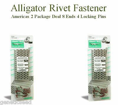 "Alligator Rivet 7"" Heavy Duty Lace Fasteners 8 Ends 4 Pins Baler Belts Repairs"