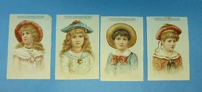 Tulip Soap Victorian Trade Card Set x 4 Children Lithograph 1800s advertising