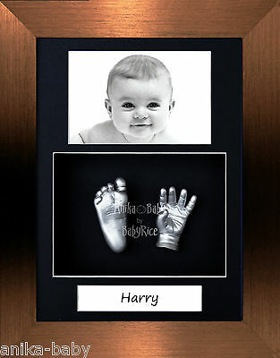 New Baby Casting Kit Unique Portrait Silver Hand Foot Cast Brushed Bronze Frame