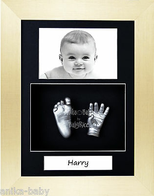 New Baby Casting Kit Gift Portrait Silver Hand Foot Cast Brushed Gold 3D Frame